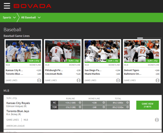 Bovada User Interface