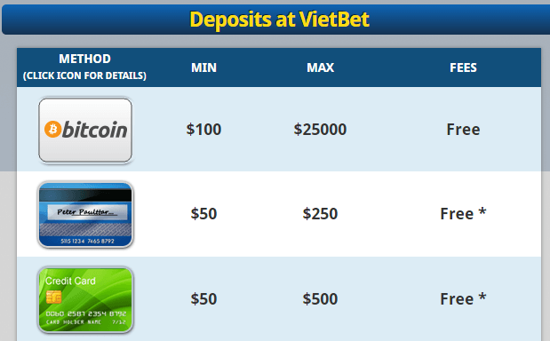 Deposit Methods at Vietbet