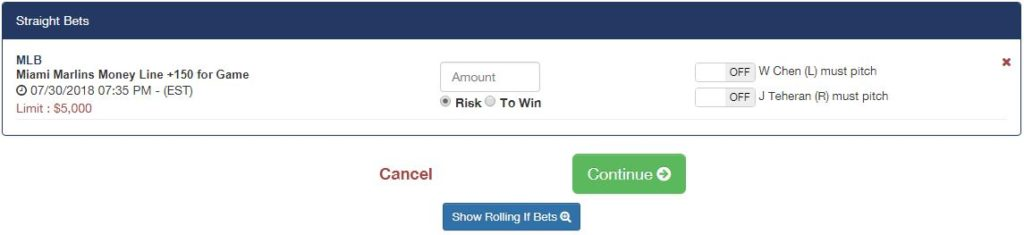 Youwager Bet Slip