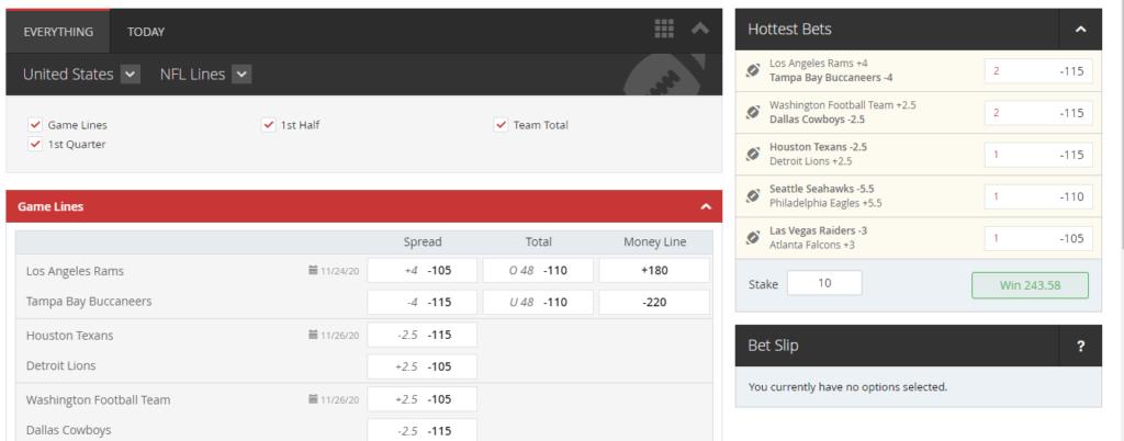 intertops betting interface